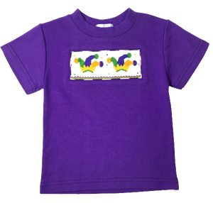 Mardi Gras Smocked Top