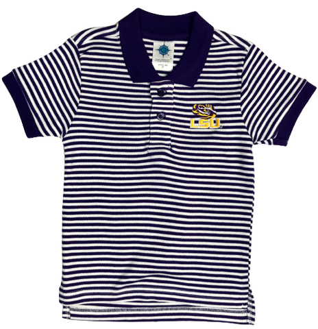 Creative Knitwear LSU Purple & White Striped Polo