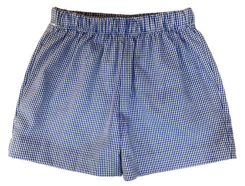 Royal Blue Gingham Pull On Short