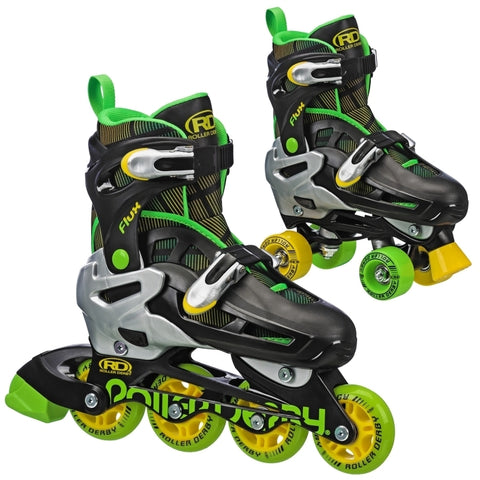 Flux 2in1 Inline/Quad Size Adjustable Skates - Blk/Grn