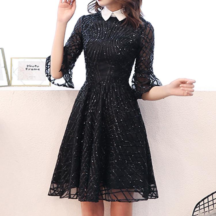 #5025 Black Sequins Dress