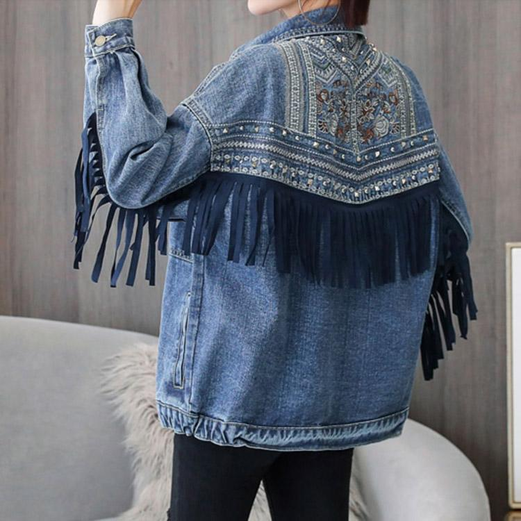#5031 Embroidered Tassel Denim Jacket