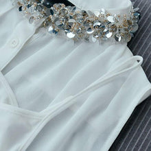 Load image into Gallery viewer, #5045 Sequin Collar Sleeveless Shirt