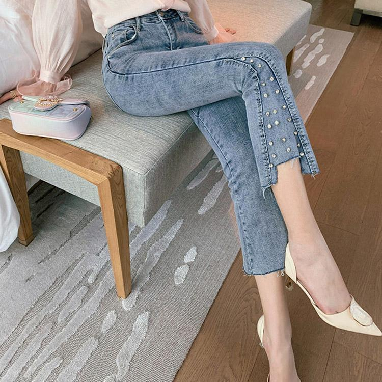 #5049  Beaded High-rise Jeans Trousers