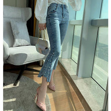 Load image into Gallery viewer, #5049  Beaded High-rise Jeans Trousers