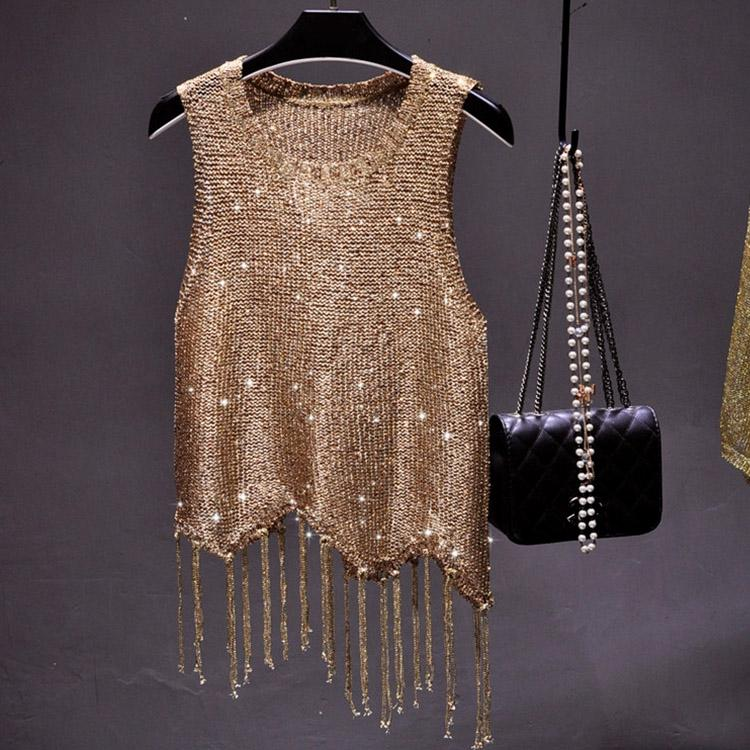 #5104 Sequined Tassel Top