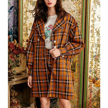 Load image into Gallery viewer, British plaid mid-length suit collar single-breasted jacket