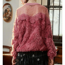 Load image into Gallery viewer, Semi-sheer lace mesh stitching top