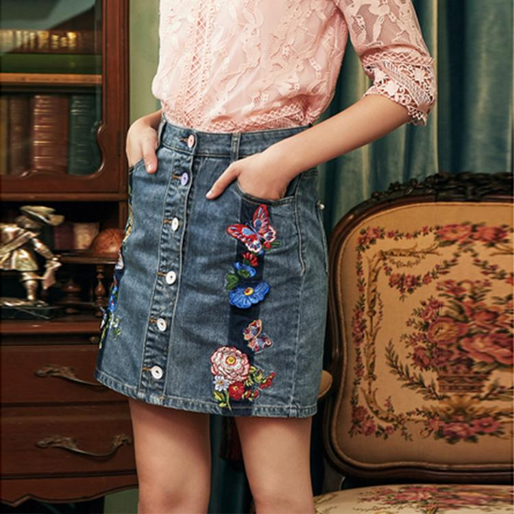Cotton butterfly flower embroidery skirt