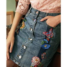 Load image into Gallery viewer, Cotton butterfly flower embroidery skirt