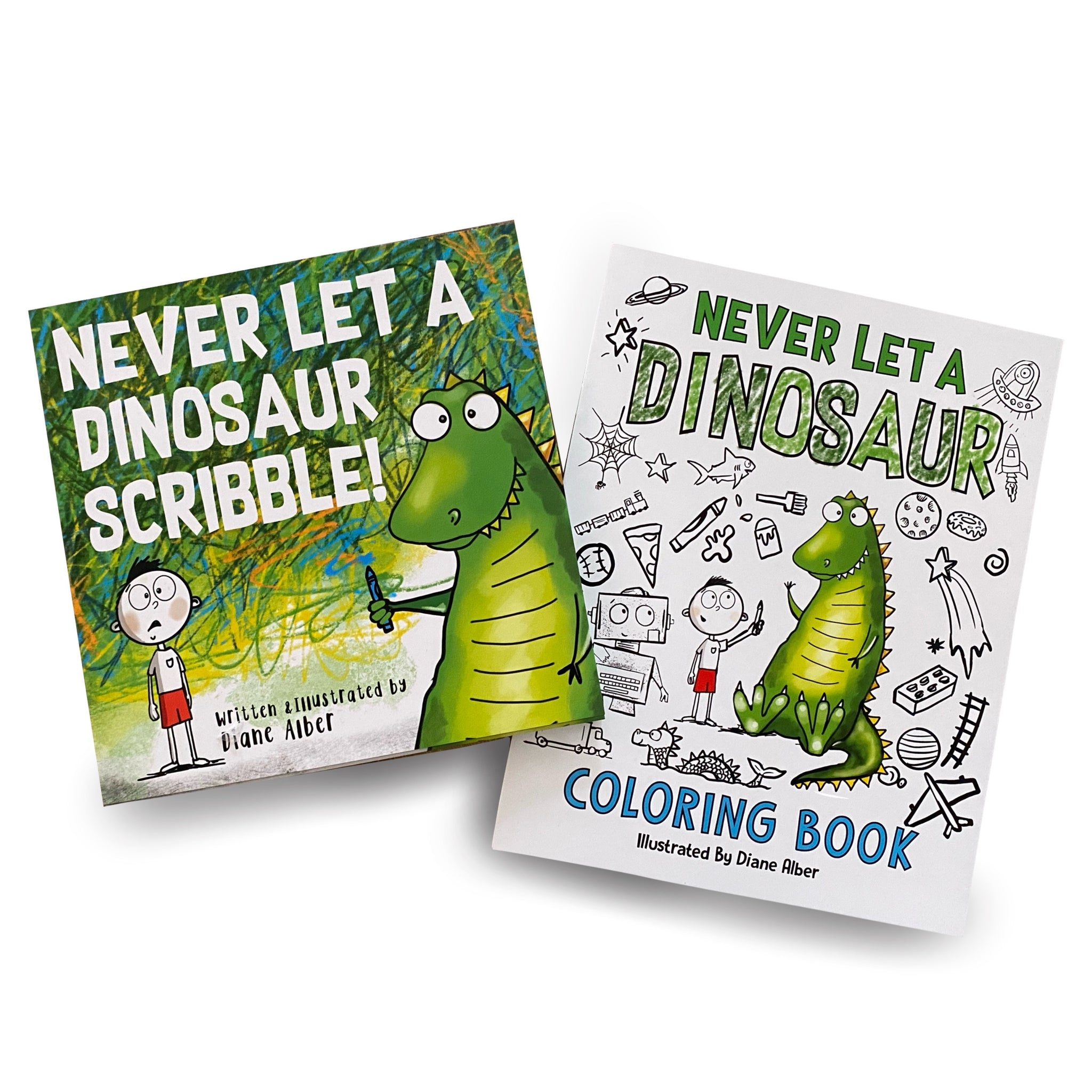 Never Let A Dinosaur Hardcover Book and Coloring Book bundle