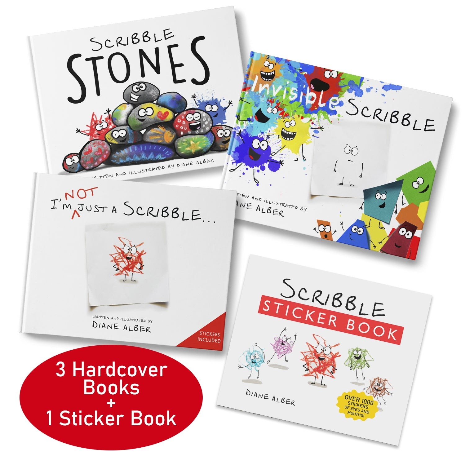 Scribble Bundle (Scribble Stones, Invisible Scribble, I'm not just a Scribble & Scribble Sticker book)