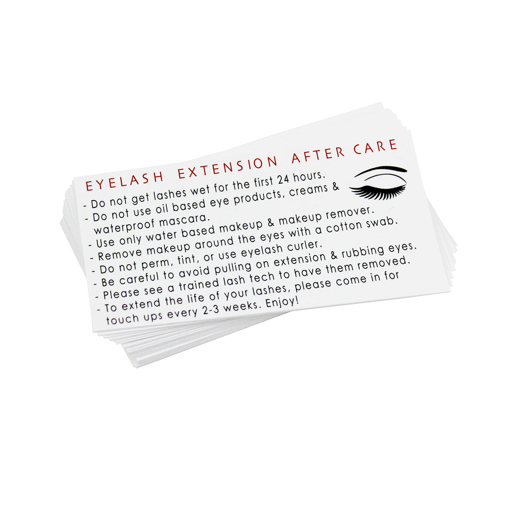 eyelash extension after care lash instruction card appointment