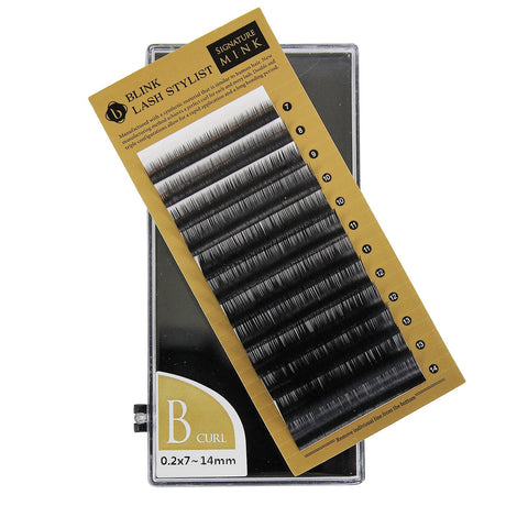 Eyelash Extension Blink Mink B Curl 7mm-14mm Mixed Size Tray