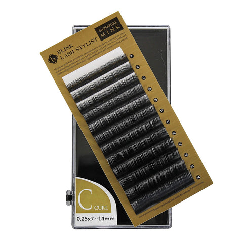 Eyelash Extension Blink Mink C Curl 7mm-14mm Mixed Size Tray