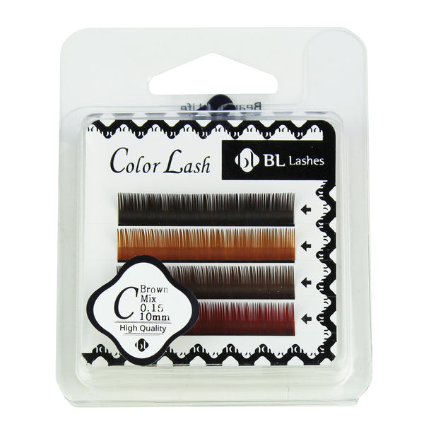 BL Lashes Color Lash C Brown Mix 0.15 Thickness 4 Lines