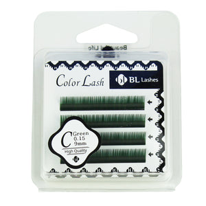 BL Lashes Color Lash C Green 0.15 Thickness 4 Lines