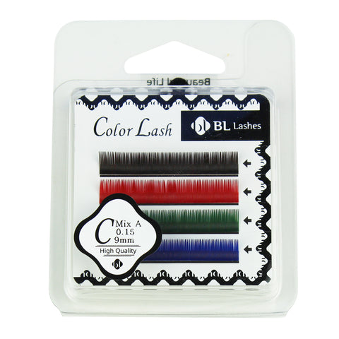 BL Lashes Color Lash C MIX A 0.15 Thickness 4 Lines