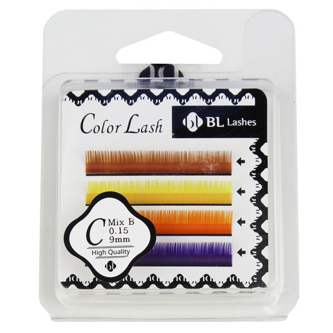 BL Lashes Color Lash C Mix B 0.15 Thickness 4 Lines