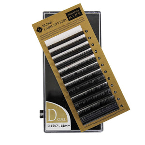 Eyelash Extension Blink Mink D Curl 7mm-14mm Mixed Size Tray