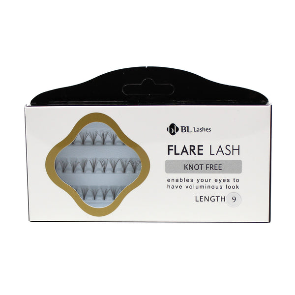 BL Lashes Flare Lash Knot Free Length 9, 11, & 13 Cluster Lashes Eyelash Extension
