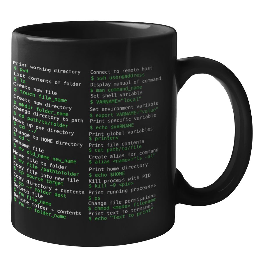 Terminal/Unix Reference Mug for Mac and Linux (Dark Mode)