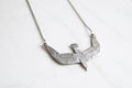 Diving bird necklace - silver