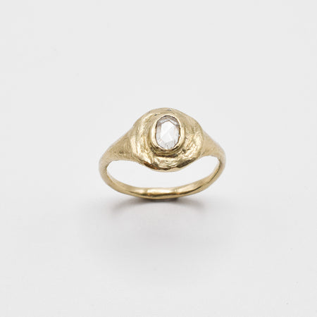 Dais ring - 14k gold with white rose cut diamond