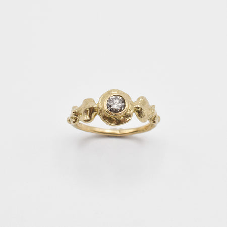 Ore ring - 14k gold with salt & pepper diamond - READY TO SHIP