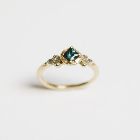 Haven ring - 14k gold with sapphire & diamonds - READY TO SHIP