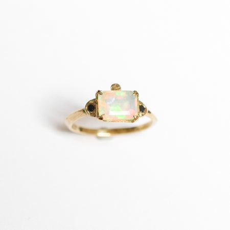 Julian ring - 10k gold with opal and black diamonds