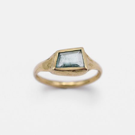 Geometric Emerald Signet Ring - 14k gold - READY TO SHIP