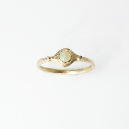 Vita ring - 10k gold with opal and diamonds - READY TO SHIP