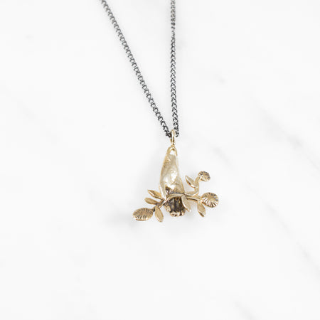 Hand & Flower necklace - brass on silver