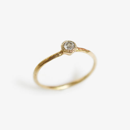 Hex ring - 10k gold with salt & pepper diamond - READY TO SHIP