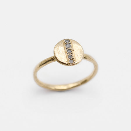 Dot Ring - 10k gold with pavé diamond line
