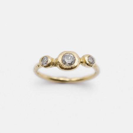 Three point ring - 14k gold with salt & pepper diamonds