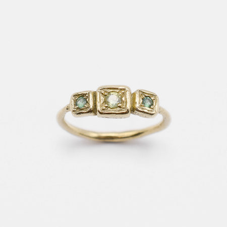 Path Ring - 14k gold with sapphires