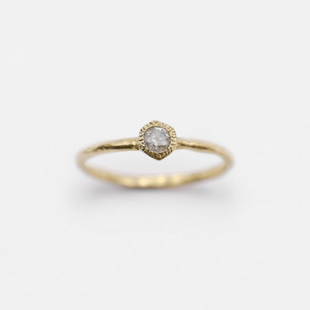 Hex ring - 10k gold with salt & pepper diamond