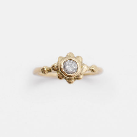 Sol ring - 14k gold with salt & pepper diamond
