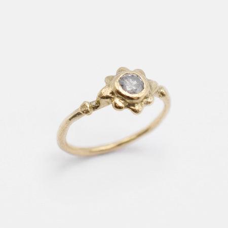 Sol ring - 14k gold with salt & pepper diamond - READY TO SHIP