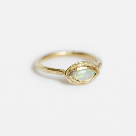 Rhodes ring - 10k gold with marquise opal - READY TO SHIP