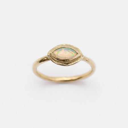 Rhodes ring - 10k gold with marquise opal