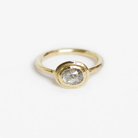Rhodes ring - 14k gold with salt & pepper diamond