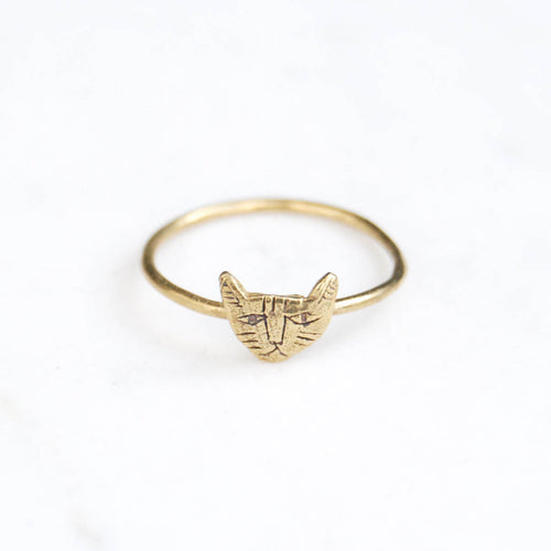 Cat ring tiny - brass