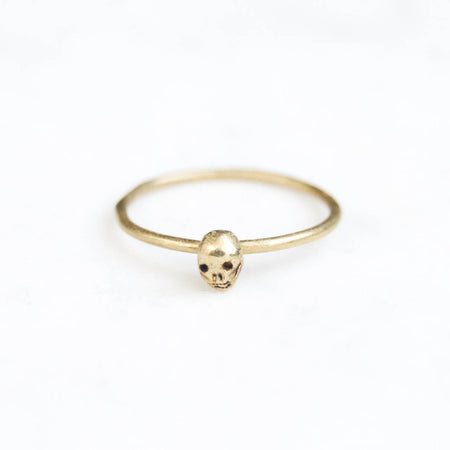 Custom listing for Sandra - Tiny skull single ring - brass