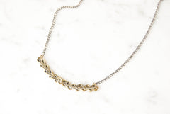 Laurel necklace - brass on silver
