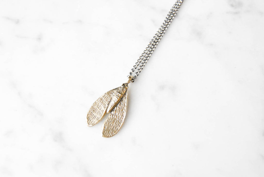 Fly necklace - brass on silver