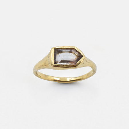 Tourmaline Arrow ring - 10k gold with pale green tourmaline
