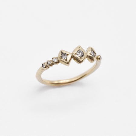 Chlo Ring - 14k gold with star set salt & pepper diamonds